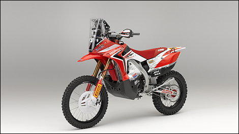 Honda CRF450 Rally front 3/4 view