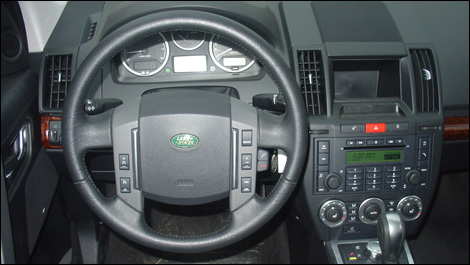 land rover lr2 interior. the hollow space created by absence of a navigation system marks an odd styling execution land rover lr2 interior